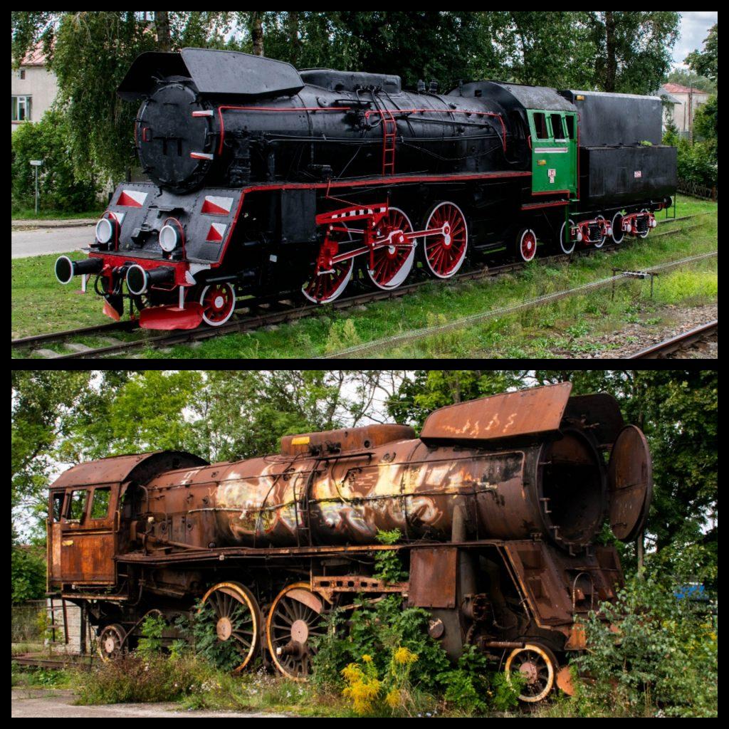 Odremontowana lokomotywa Ol49-29 ustawiona jako pomnik na stacji PKP Stare Juchy oraz wrak Ol49-80 bez tendra w Ełku.